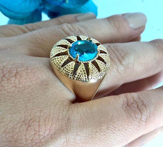 Anel com Pedra Natural Azul Folheado em Ouro 18k