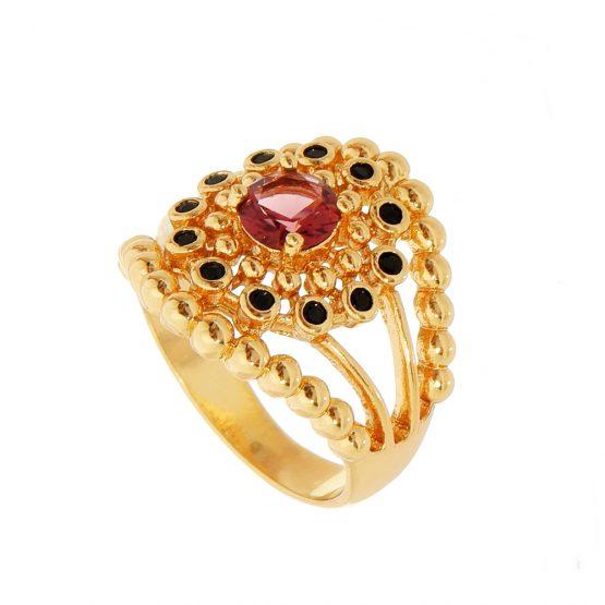 Anel de Pedra Natural Lilás e Zircônias Pretas Folheado em Ouro 18k
