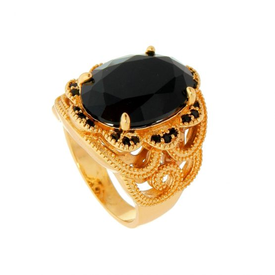 Anel de Pedra Natural Preta Cravejado com Zircônias Folheado em Ouro 18k