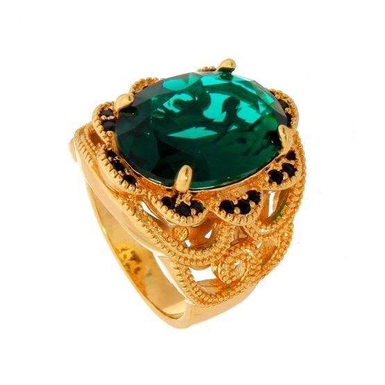 Anel de Pedra Natural Verde Cravejado com Zircônias Folheado em Ouro 18k