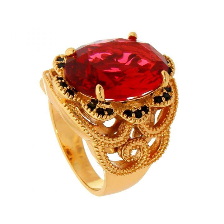 Anel de Pedra Natural Vermelha Cravejado com Zircônias Folheado em Ouro 18k
