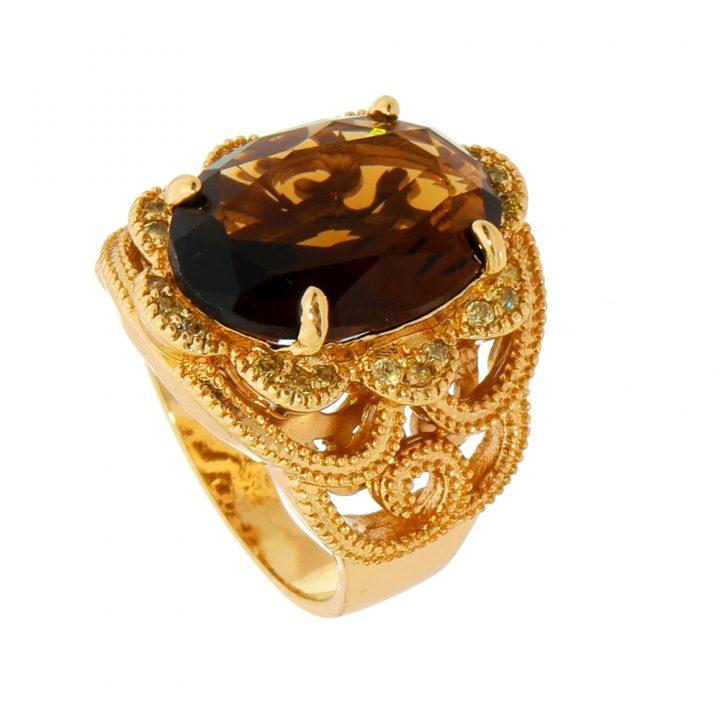 Anel de Pedra Natural Whisky Cravejado com Zircônias Folheado em Ouro 18k