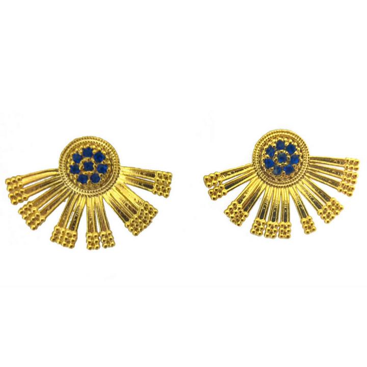 Brinco Ear Cuff Com Zircônias Azuis Folheado Em Ouro 18k