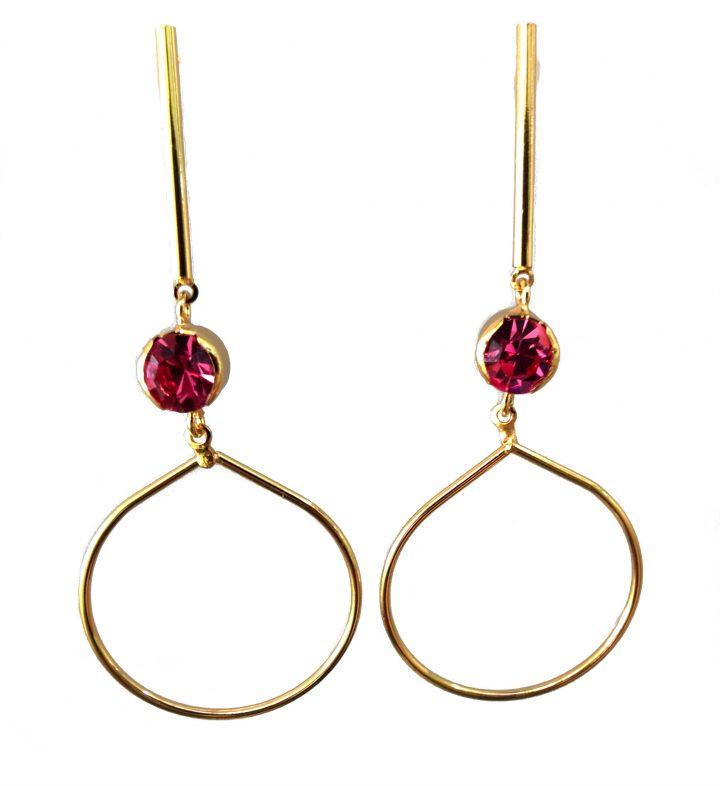 Brinco Pêndulo com Pedra Natural Rosa Folheado em Ouro 18k