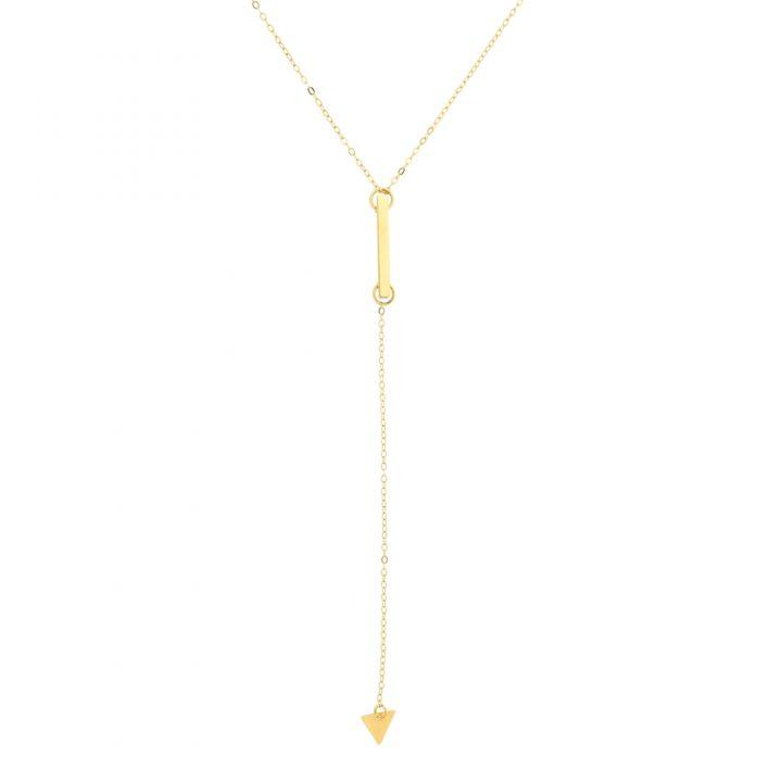 Colar Longo Gravatinha Tubinho Triângulo Folheado em Ouro 18k