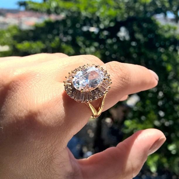 anel zirconia folheado ouro 18k