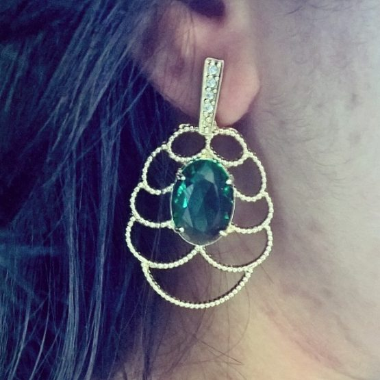 brinco da moda de pedra verde
