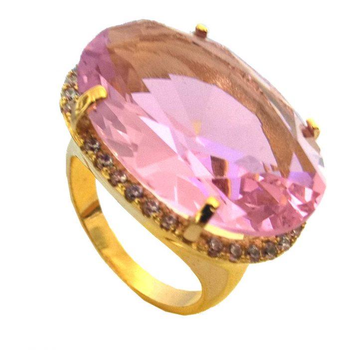 Anel de Pedra Natural Rosa Folheado em Ouro 18k