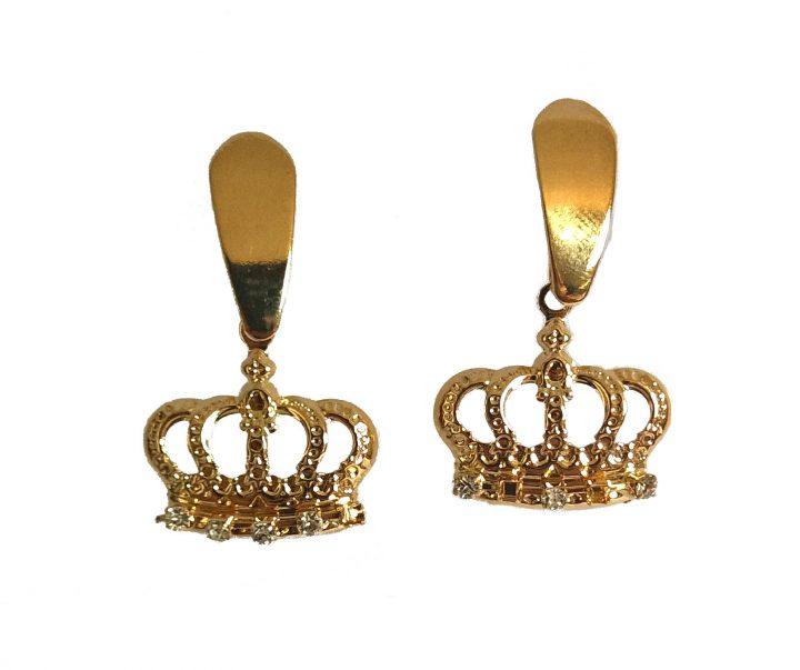 Brinco Coroa com Cravações em Zircônia Folheado em Ouro 18k