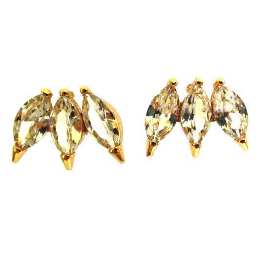Brinco Gota com Zircônias Brancas Folheado em Ouro 18k