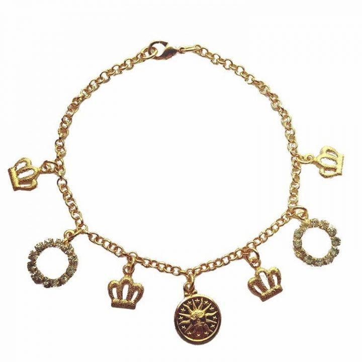 Pulseira com Pingentes de Coroa e Sol Folheada em Ouro 18k