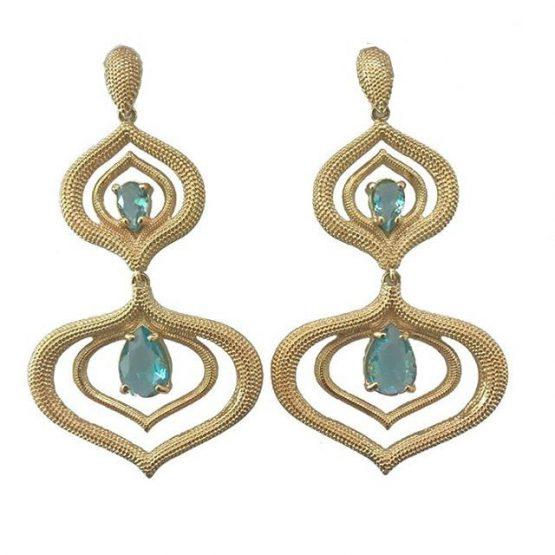 Brinco Duas Gotas Com Pedra Azul Folheado Em Ouro 18k