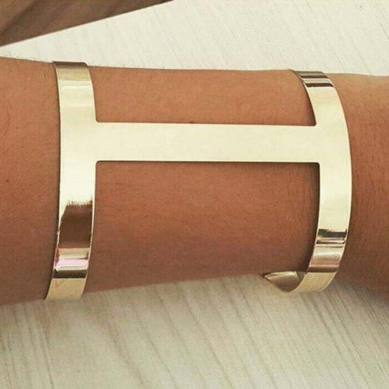 Bracelete Feminino Dourado Vazado Folheado em Ouro 18k