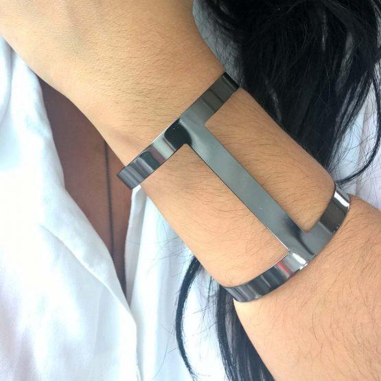 Bracelete Feminino Folheado Em Ródio Negro