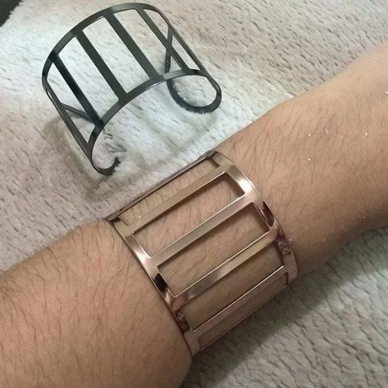Bracelete Feminino Vazado Folheado em Ouro Rosé