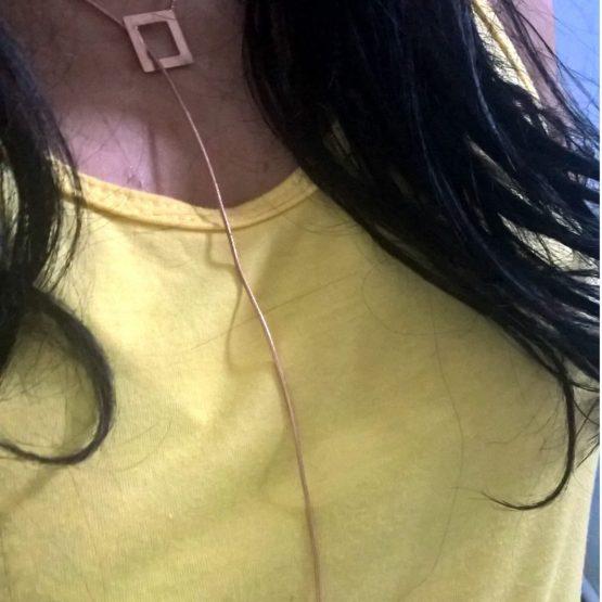 Colar Gravatinha Longo Folheado em Ouro Rosé