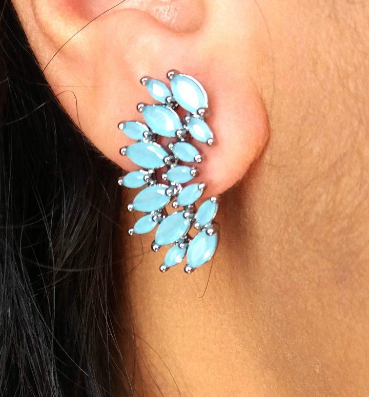 Brinco Ear Cuff com Pedra Natural Azul Turquesa Folheado em Ródio Negro