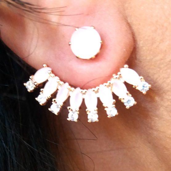 Brinco Ear Jacket com Pedra Rosa Folheado em Ouro 18k