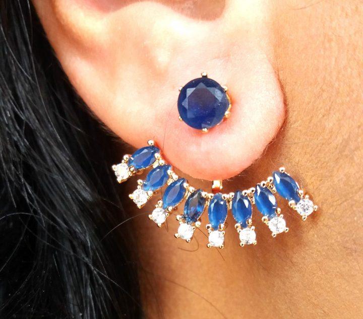 Brinco Ear Jacket com Pedras Azuis Folheado em Ouro 18k