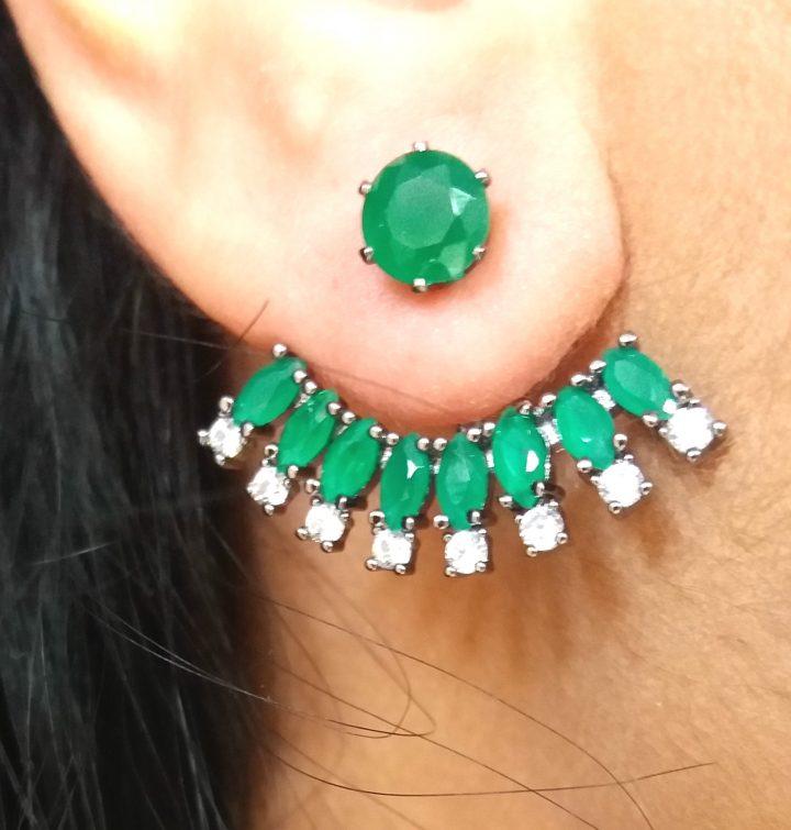Brinco Ear Jacket com Pedras Verdes Folheado em Ródio Negro