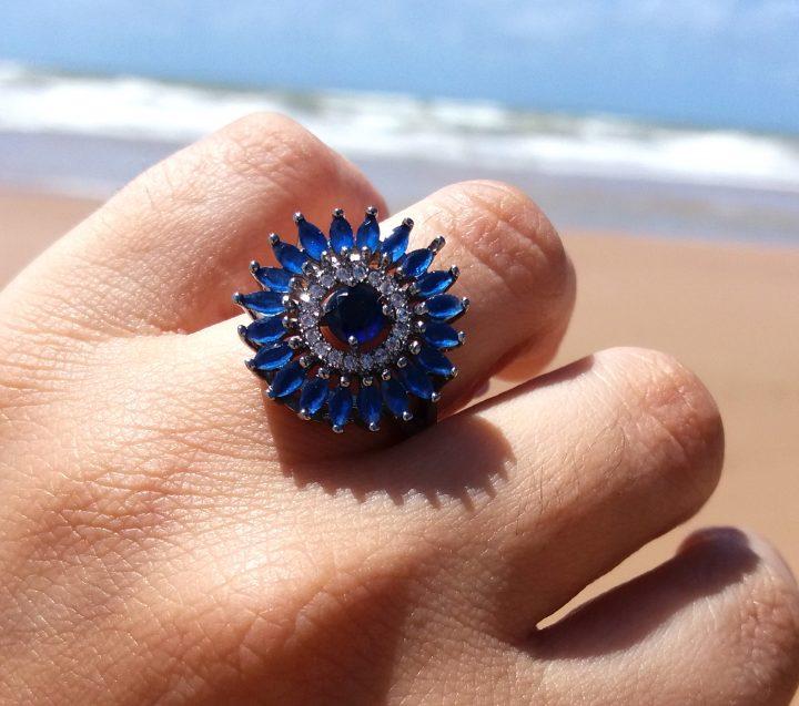 anel da moda com pedra folheado