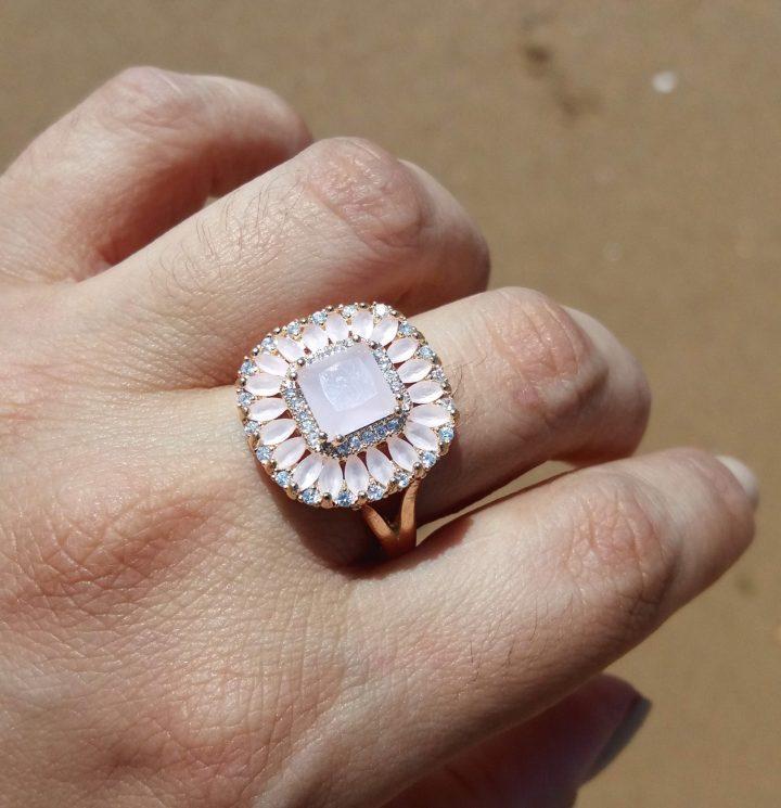 anel grande feminino da moda de pedra folheado