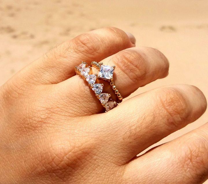 anel solitário feminino folheado em ouro