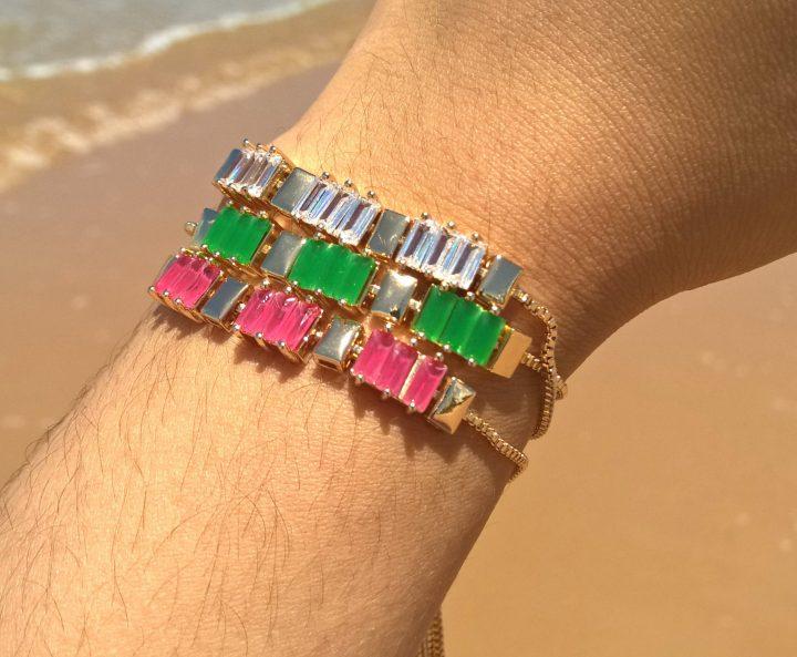 pulseira feminina da moda de pedra folheada