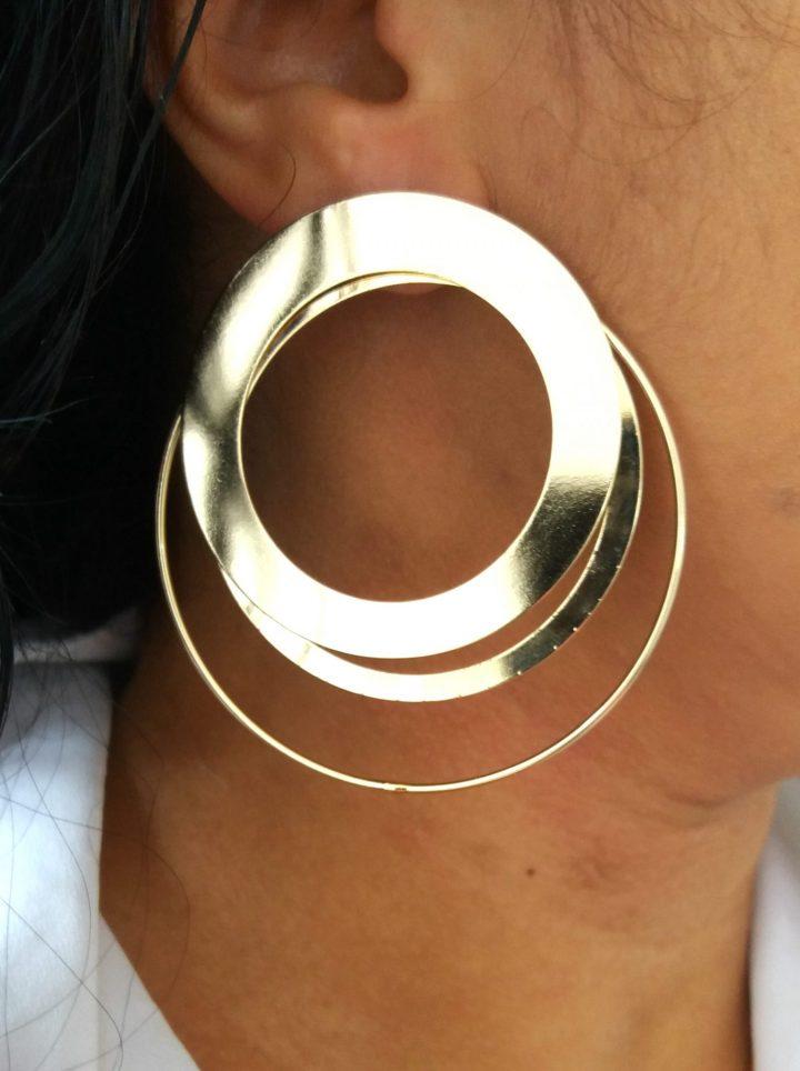 maxi brinco de argola da moda dourado