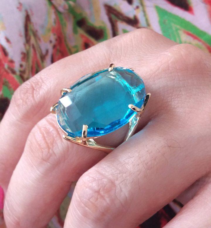 Anel Feminino De Pedra Azul Folheado Em Ouro 18K