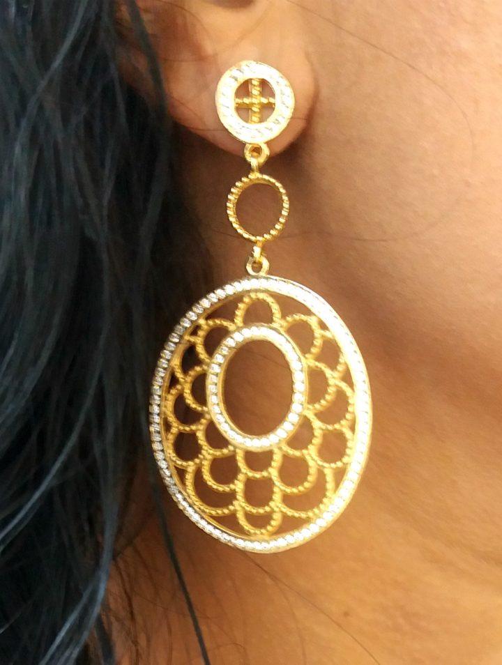 brinco feminino grande dourado