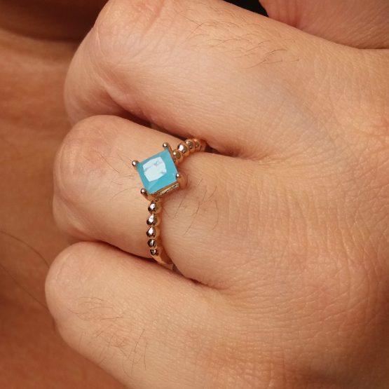 Anel Estilo Pandora Com Pedra Azul Folheado em Ouro 18k