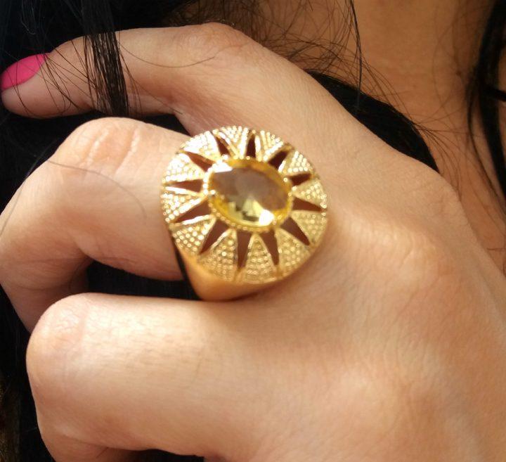 Anel Feminino De Pedra Amarela Folheado Em Ouro 18k