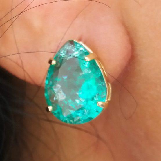 Brinco De Pedra Verde Esmeralda Folheado em Ouro 18k