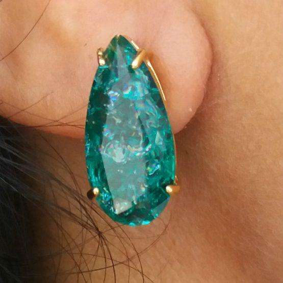 Brinco Verde Esmeralda Fusion Folheado em Ouro 18k