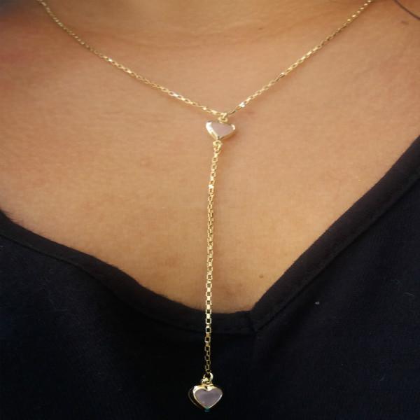 Colar Gravatinha Rosa Leitoso Folheado Em Ouro 18k