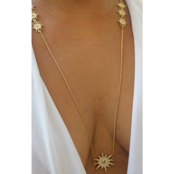 Colar Longo Delicado De Estrela Folheado em Ouro 18k