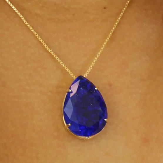 Colar com Pedra Azul Folheado em Ouro 18k