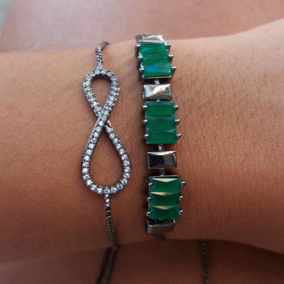 Pulseira Feminina Riviera de Pedra Verde Folheada em Ródio Negro