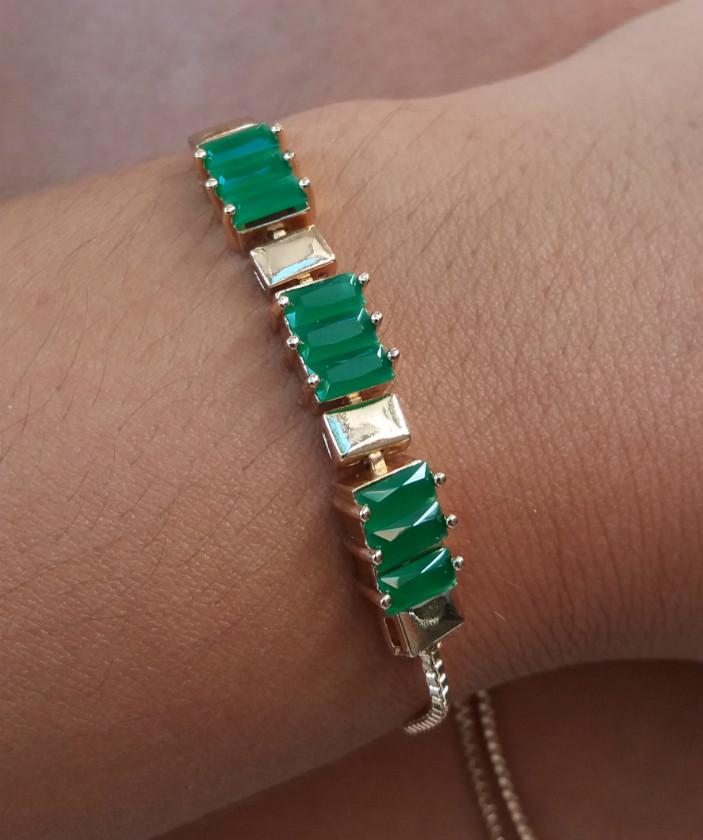 Pulseira Feminina de Pedra Verde Folheada em Ouro 18k