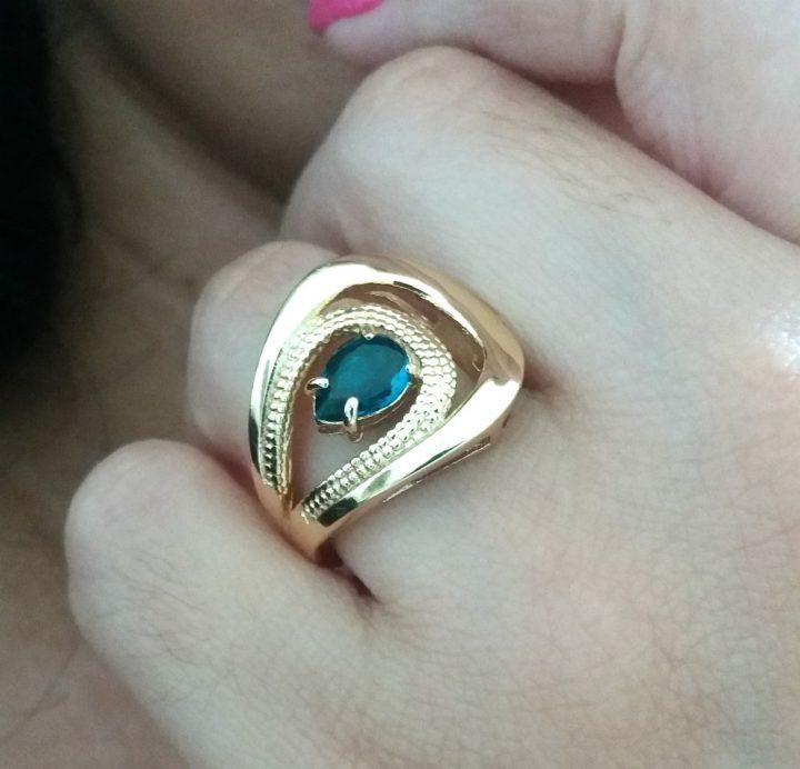 anel com pedra azul marinho turquesa