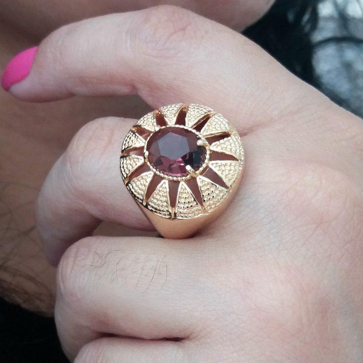 anel feminino de pedra vermelha rubi