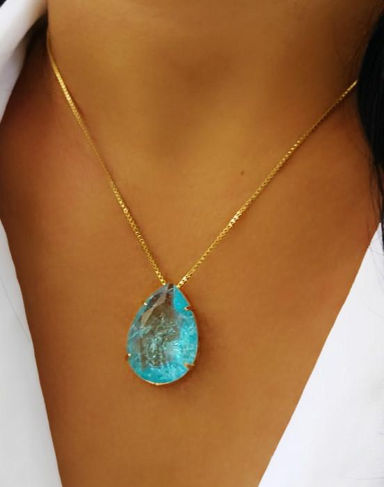 Colar Com Pedra Fusion Azul Folheado em Ouro 18k