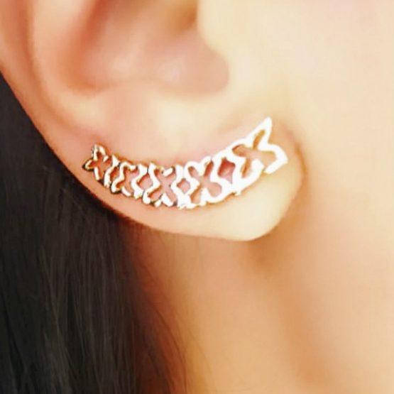 Brinco Ear Cuff Delicado Borboleta Folheado em Ouro 18k