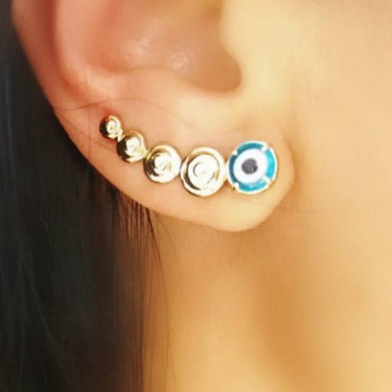 Brinco Ear Cuff Olho Grego Folheado em Ouro 18k