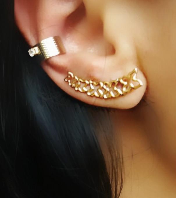 Piercings De Pressão Para Orelha Folheado em Ouro 18k