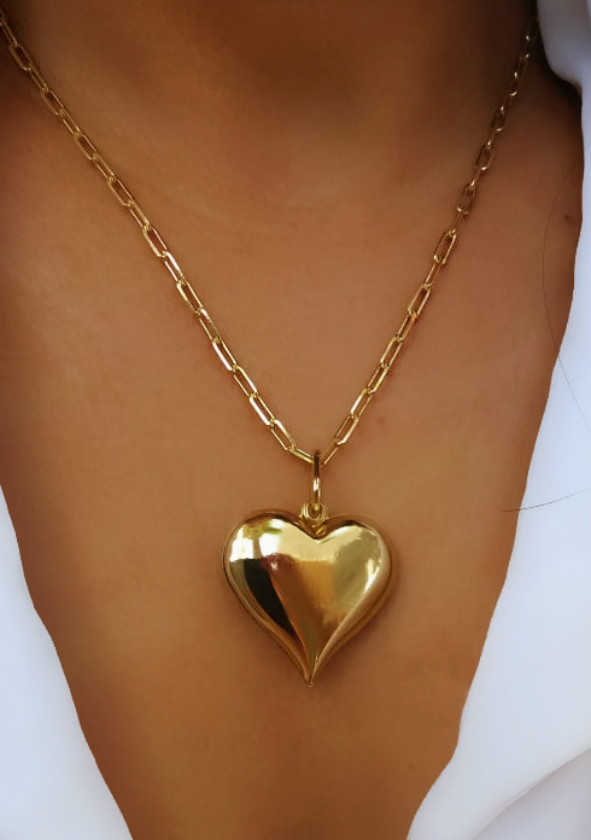 colar de coração de ouro