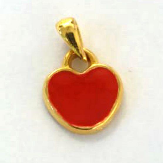 Berloque Coração de Pendurar Folheado em Ouro 18k