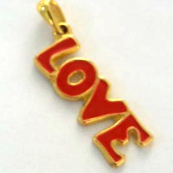 Berloque Escrito Love de Pendurar Folheado em Ouro 18k