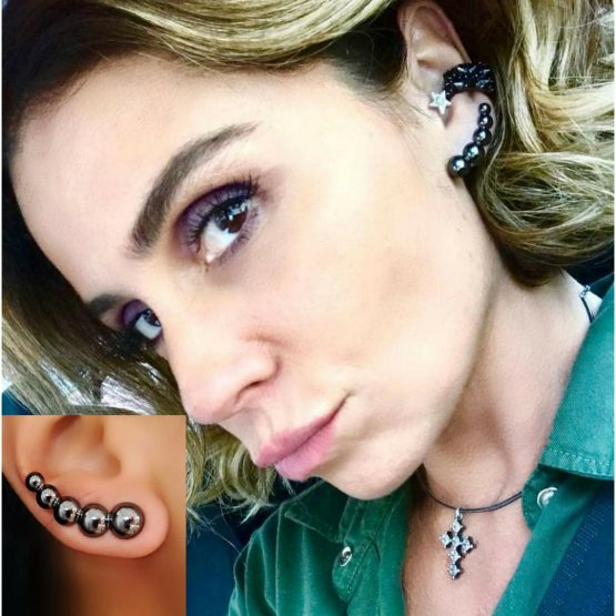 Brinco Ear Cuff da Luzia Ariella Folheado em Ródio Negro